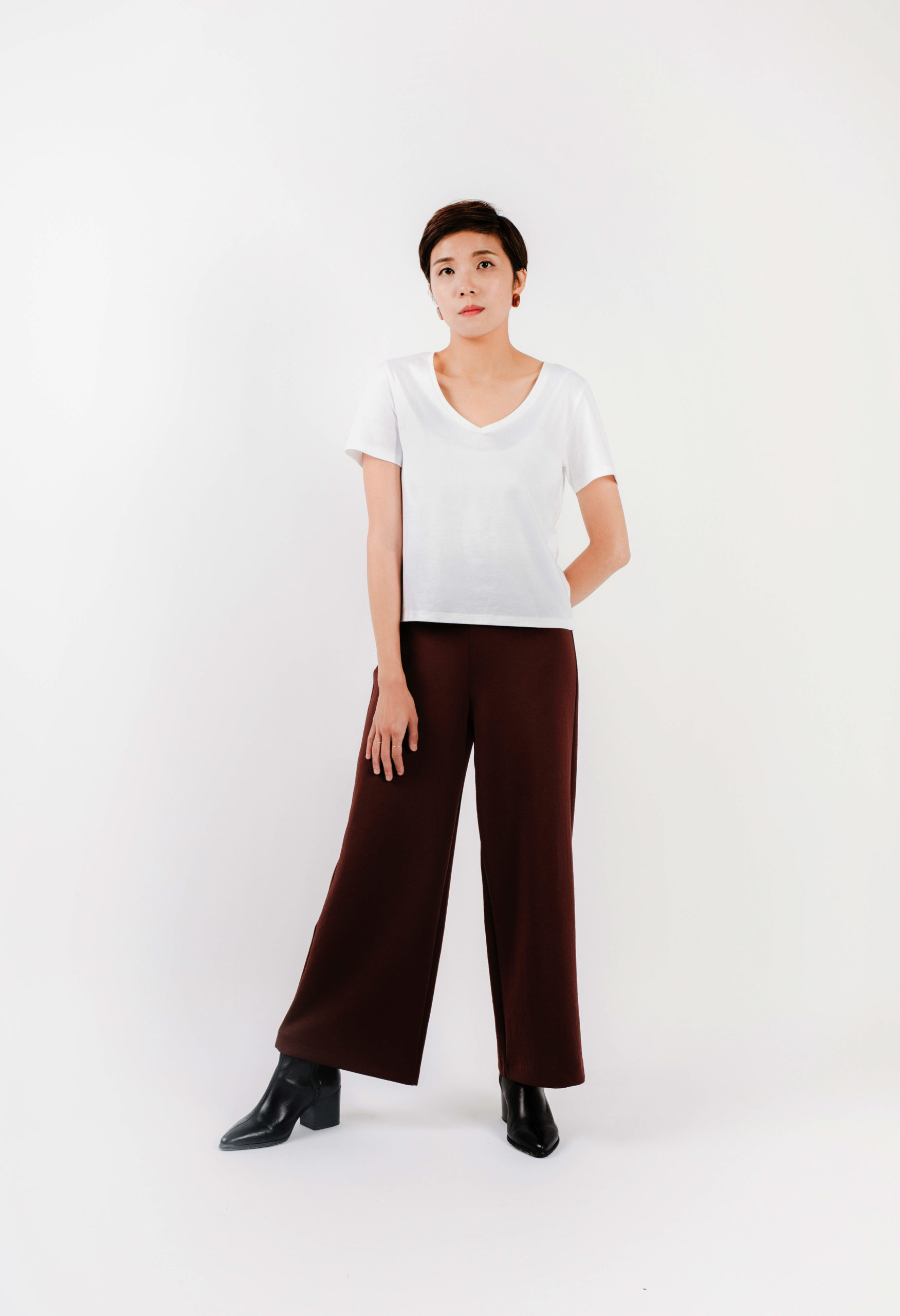 V-neck with Dark Brown Wide Pants