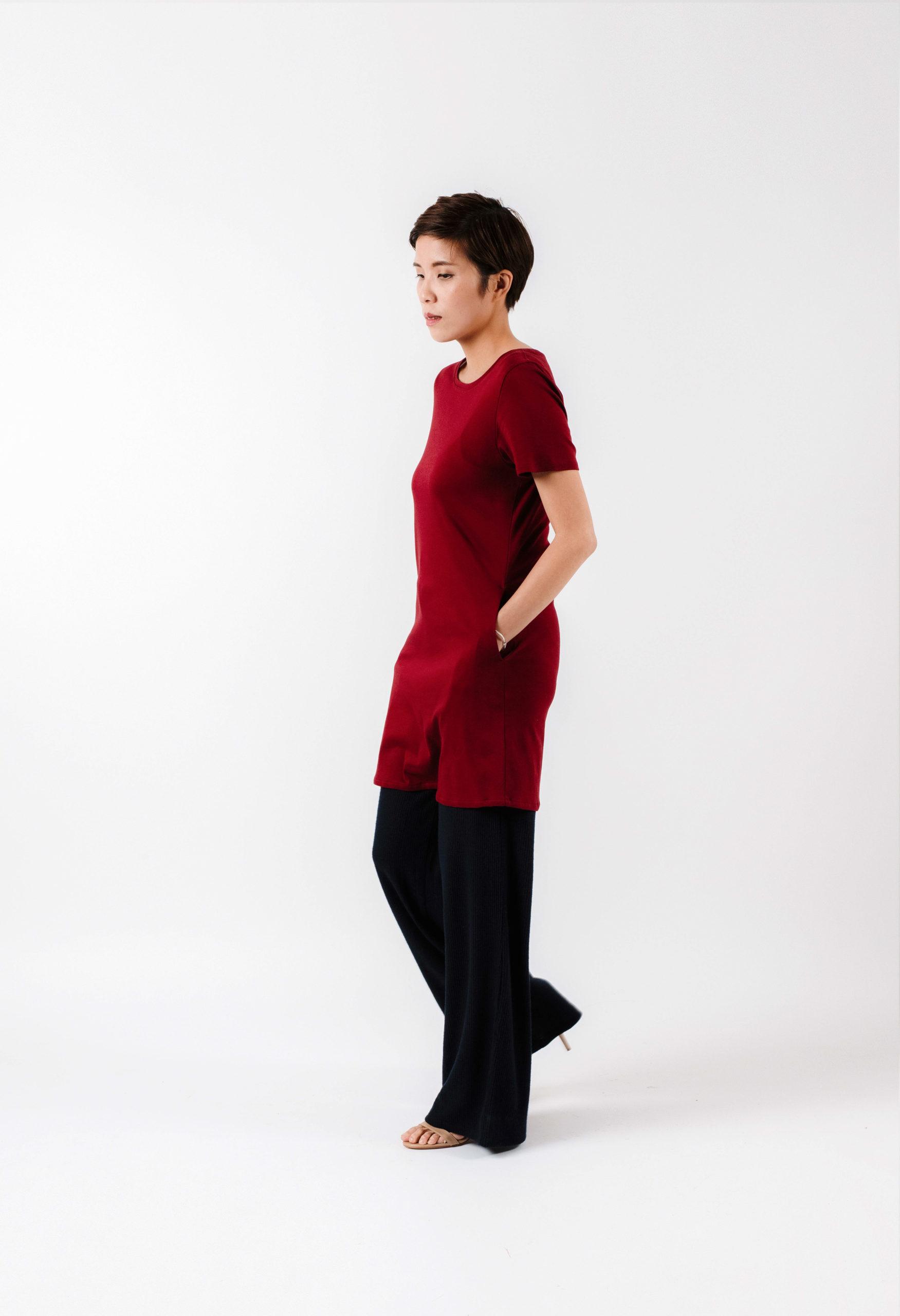 Burgundy T-dress with Wide Leg Pants