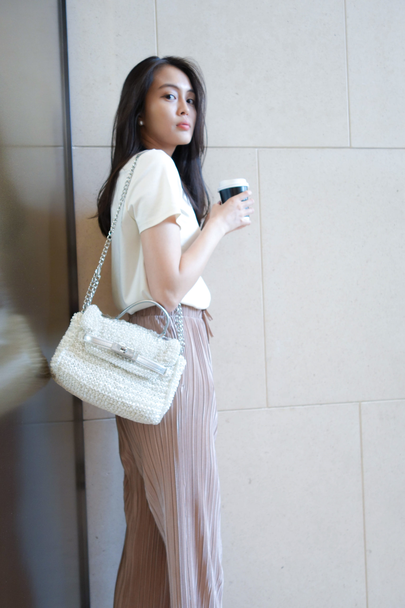 Crew Neck with Shiny Pleated Wide Pants