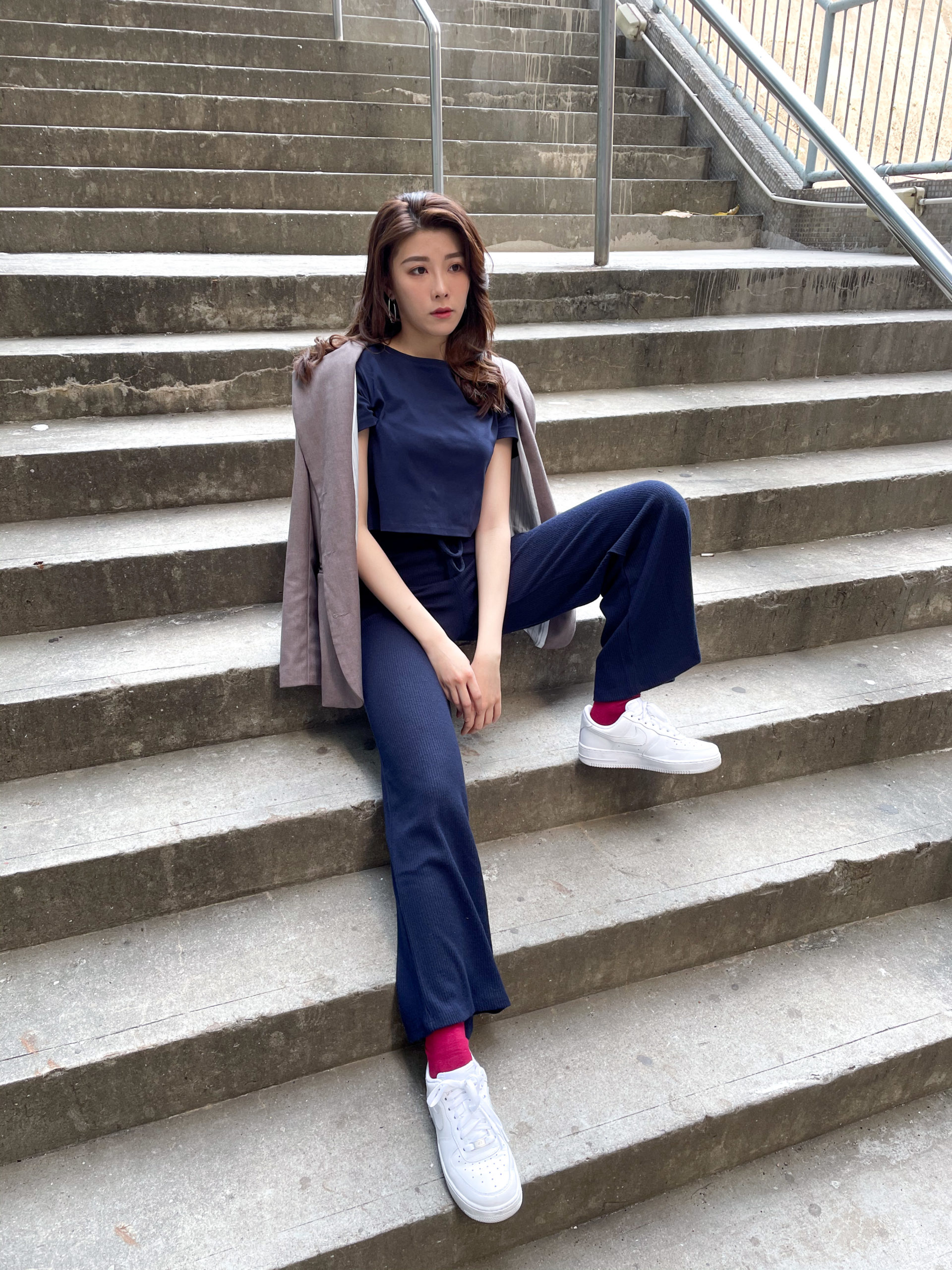 Navy Boxy Tee with High-Waisted Jersey Pants
