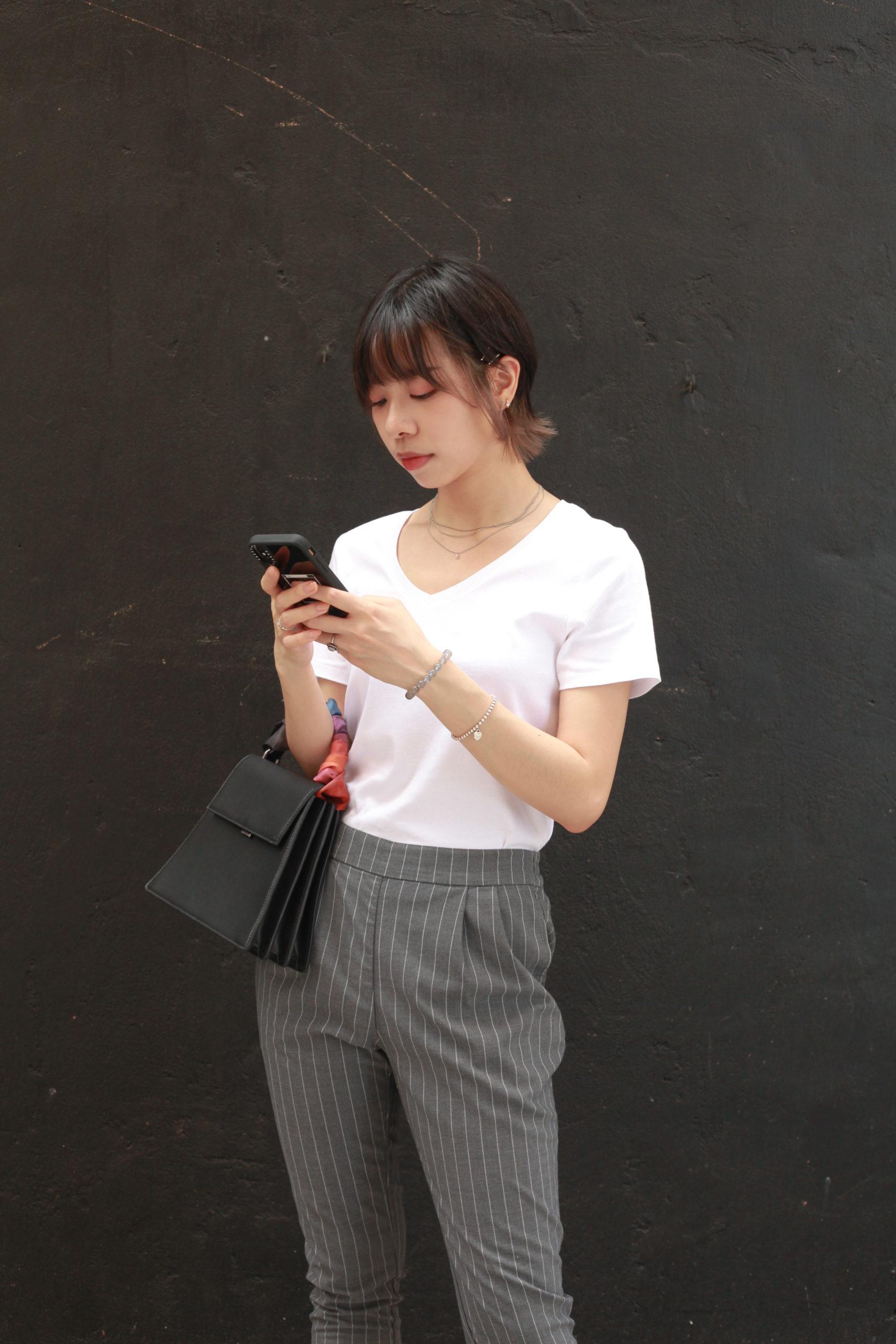 V-neck with Grey Stripe Pants