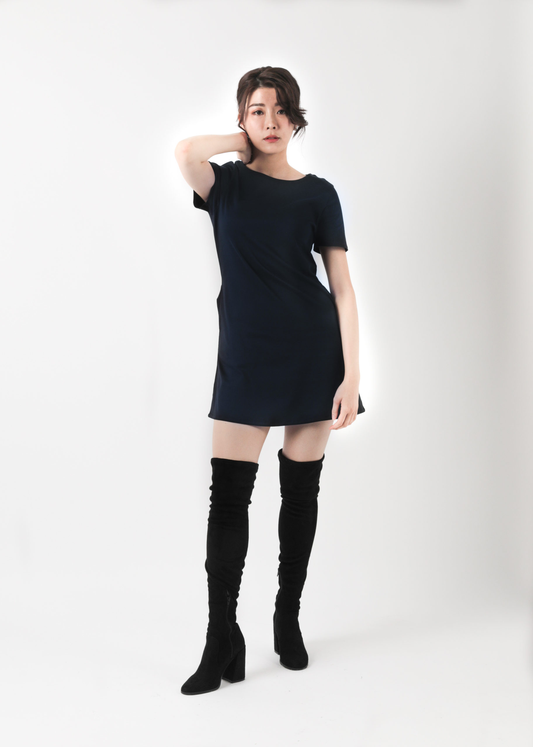 Navy T-Dress with Over Knee Boots
