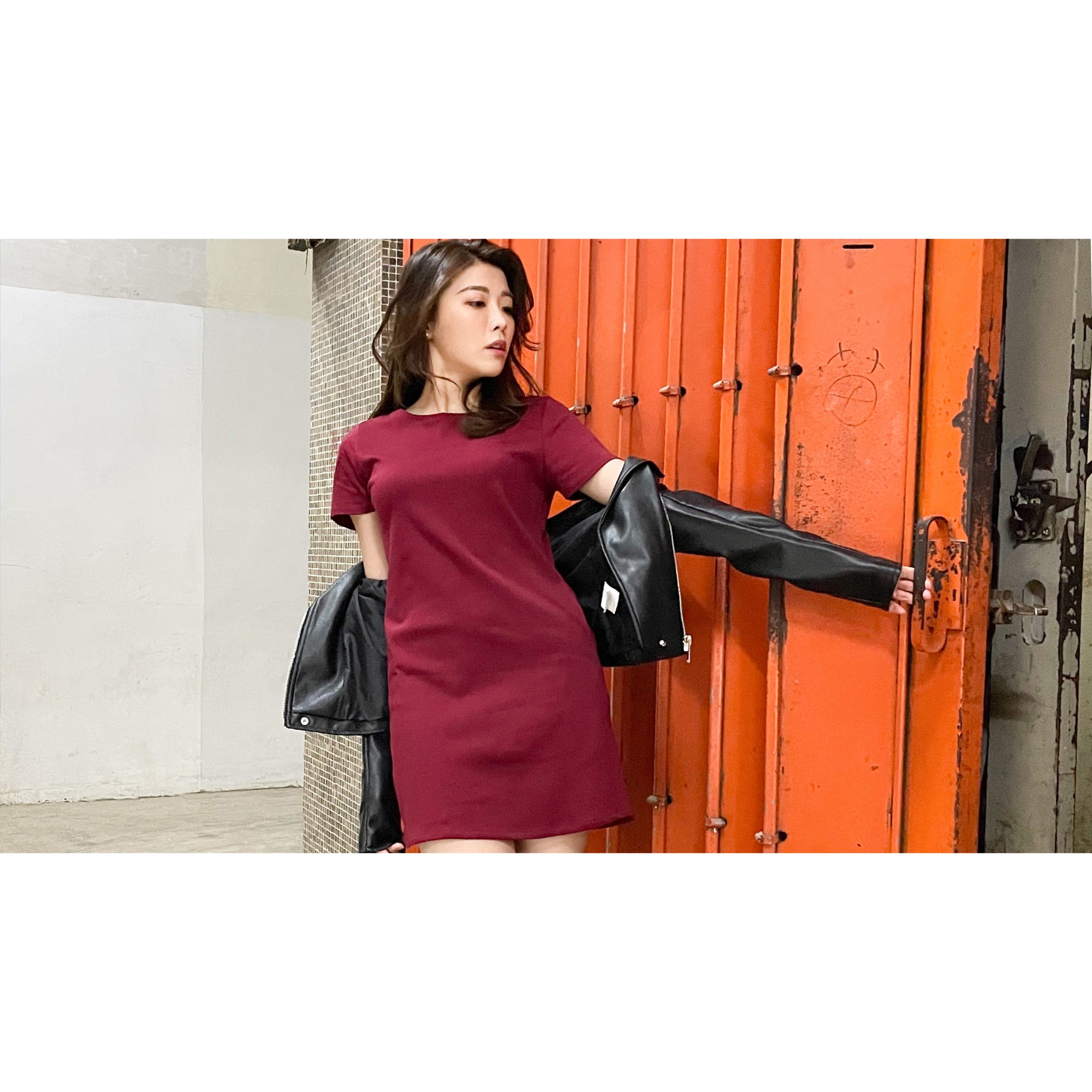 Burgundy T-Dress with Leather Jacket