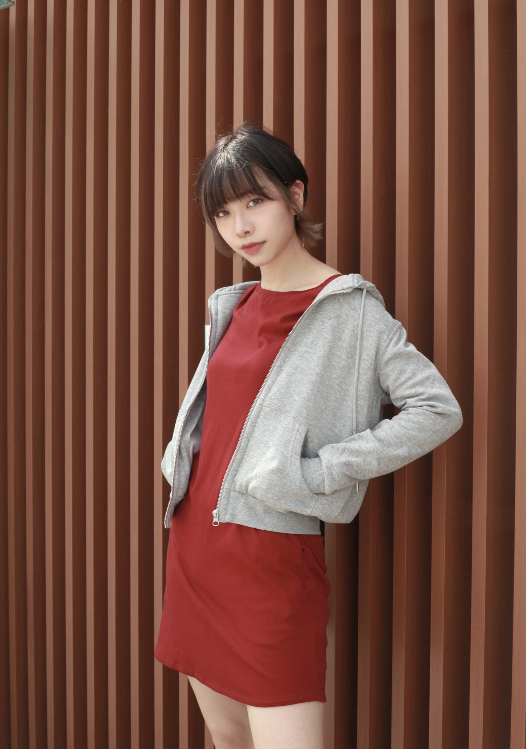 Burgundy T-Dress with Hoodie Jacket